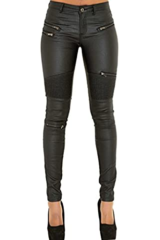 Cresay Women's Slim Fit Faux Leather Biker Pants Black Trousers-36M