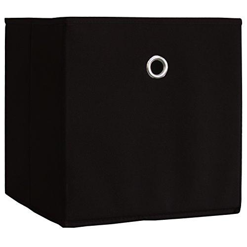 faltboxen stoff VCM 10er Set Faltbox Klappbox Sammelbox Stoffbox Regalbox Regalkorb Schwarz 27 x 27 x 28 cm