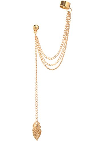 2livefor-ohrklemme-mit-kette-einzelne-ohrringe-lange-gold-und-silber-hangend-blatter-tropfen-sehr-la