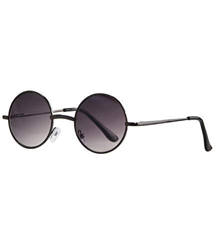 Caripe Lennon Retro Vintage Sonnenbrille Metall Damen Herren rund Nickelbrille (2060 - metallic - Smoke Verlauf)