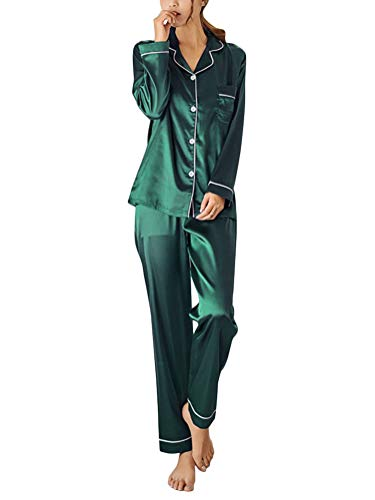ORANDESIGNE Damen Pyjamas Sets Frühling Herbst Klassische Schlafanzug Satin V-Ausschnitt Zweiteiliges Nachtwäsche Nachthemd Lang Elegant Licht Langarm Shirt und Hosen A Grün DE 36 -