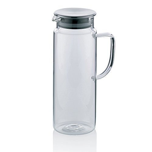 Kela 11397 Saftkrug aus Glas, Edelstahl-Deckel, 1,0 l, Pitcher -