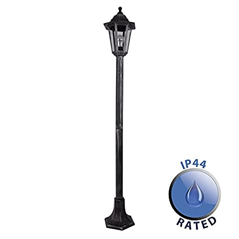 Traditional 1.2m Victorian Black And Silver Outdoor Garden Lamp Post Bollard And Top Lantern Light - IP44 Rated - Complete With 1 x 4w LED ES E27 Candle Bulb