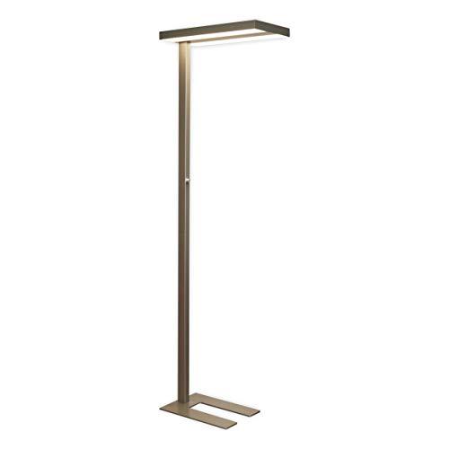 Lampenwelt LED Stehlampe 'Logan' dimmbar (Modern) in Alu aus Aluminium u.a. für Arbeitszimmer & Büro (2 flammig, A+, inkl. Leuchtmittel) | Büro-Stehleuchte, Bürolampe, Arbeitsplatzlampe, Standleuchte