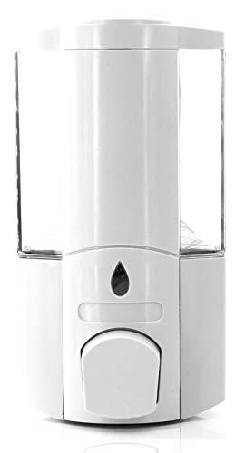 Dispensador de pared para jabón líquido 400ml, dispensador jabón manual, recipiente elegante para docciaschiuma Shampoo Bianco