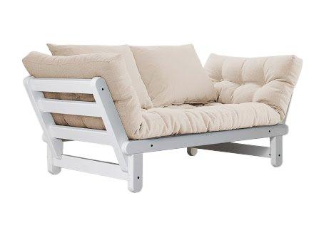 VivereZen - Divano letto futon Beat - Zen (Pino Scandinavo) Struttura bianca + futon colorato e due cuscini