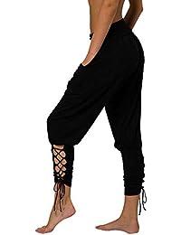 laamei Femme Harem Pantalon Ample Skinny Cropped Sarouel Pantalon Hip Hop  Danse Jogging Sueur Taille Haute 1eedacd33e8