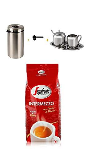 Xavax Edelstahldose für 1kg Kaffeebohnen silber + Kaffeelöffel schwarz+Xavax Milch- und Zucker-Set aus Edelstahl, 3-teilig + Segafredo Intermezzo Zanetti ganze Bohnen Kaffeebohnen 1 Kilo Packung