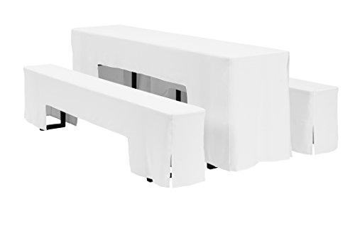 Dena 635021 Hussen-Set Arcade für Festzeltgarnitur, 100% Polyester, 220 x 50 cm, weiß
