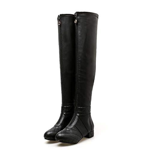 Mamrar Thigh High Boot Knight Knight Boot Frauen Sexy Round Toe Zipper Party Dress Schuhe OL Motorcycle Boots Eu Größe 34-40,Black,36EU