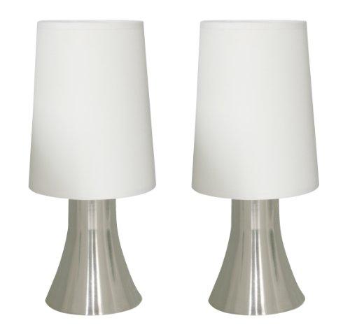 2 Stufe-halogen-beleuchtung (Tischleuchte Jannis im 2er Set nickel moderne Nachttischleuchte Touch Funktion inkl. Leuchtmittel G9 Eco Halogen 33W)