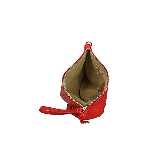 Chicca Borse Clutch Borsetta a Mano in Vera Pelle Made in italy - 29x18x2 Cm Rosso