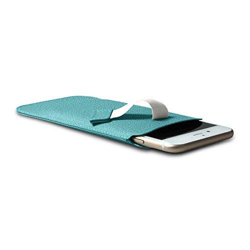 Lucrin - Etui mit Zunge für das iPhone 8/7/6 - Mausgrau - Ziegenleder Himmelblau