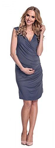 Happy Mama Donna abito prémaman a pieghe jersey. Vestito fondo asimmetrico 045p Blu Grigio