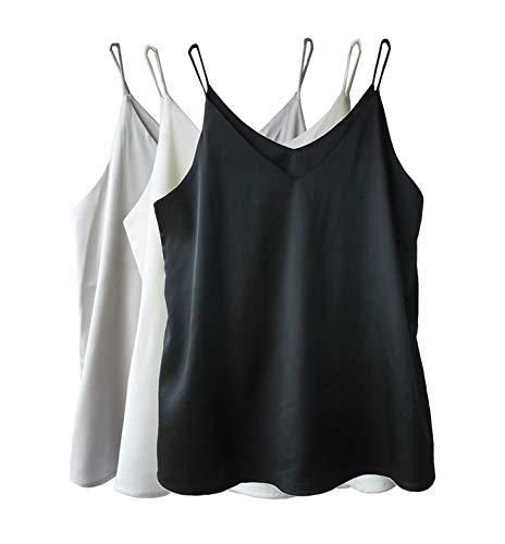 Wantschun Damen Satin Silk Weste Bluse Tank Tops Shirt Cami Spaghetti Träger Camisole Vest V-Ausschnitt M Schwarz+Weiß+Grau