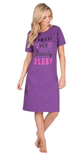 pour femmes Jersey Manche Courte Amusant Impressions Robe de nuit Chemise de nuit chemise de nuit chemise de nuit VIOLET BEAUTÉ SOMMEIL