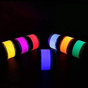 Xelparuc 7 Stück LED-Leuchtband zum Laufen, Reiten, Wandern, Konzert, Party, Camping, Outdoor-Sport, mit 8 extra Knopf-Batterien