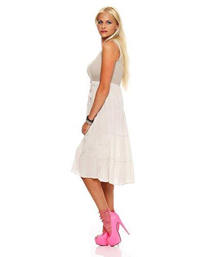 ZARMEXX Damen Sommerkleid Volant langes Empire Kleid knielanges Strandkleid Beige