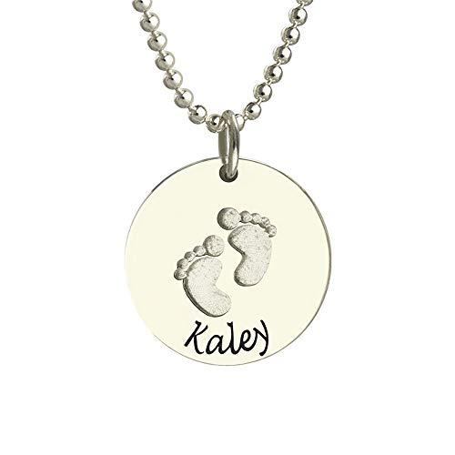 Y.Verve Personalisierte Name Halsketten für Frauen Mädchen Kinder graviert mit Silber Freundin Skript Anhänger Carved Custom(Silber 14)