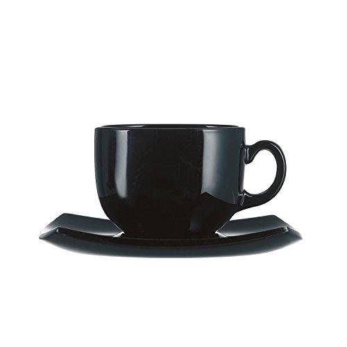 Arcoroc ARC C3115 Delice Obertasse mit Untertasse, 220 ml, Opalglas, schwarz, 6 Stück