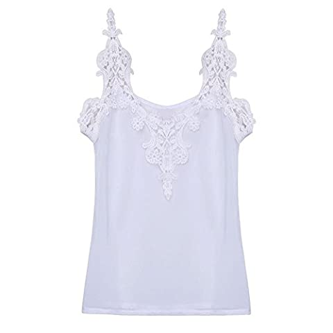 Summer Women Chiffon Tank Tops Sexy V Neck Lace Crochet Chiffon Vest Casual Beach Tops Camisole (M)
