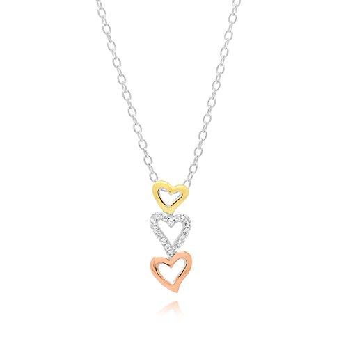 sterng plata circonita 3tonos abierto corazón colgante collar, 44cm