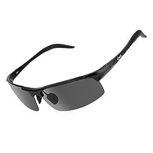 Giwil Gafas de Sol Polarizadas Deportivas de Aluminio y Magnesio para Ciclismo Gafas de Sol para Hombre y Mujer Marco Irrompible para Ciclismo, Pesca con Caña, Conducción, Golf y Correr UV400 (Negro)