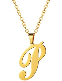 PROSTEEL 26 Initial Letter Pendant Necklace with Chain (50+5CM)-18K Gold Plated (Send Gift Box, Velvet Pouch)
