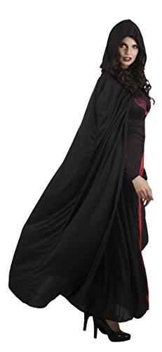 erdbeerloft - Damen Karnevalszubehör langes Kapuzen Cape Uni, Schwarz, Größe One (Fee Kostüme Zahn)