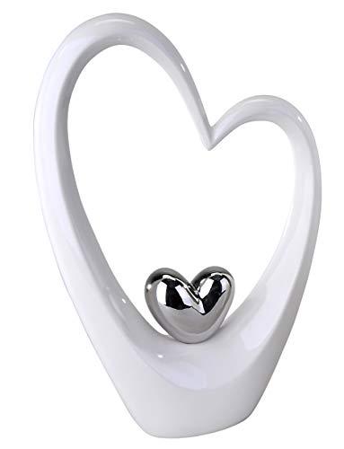 Moderne Skulptur in Form eines Herzens weiß/silber Höhe 37 cm