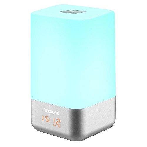 Despertador con Luz, Tecboss Wake Up Light Despertador Luz Naturales con Simulación Sunrise con 5 Sonidos de la Naturaleza, Lámpara de la Atmósfera Cambio de Color