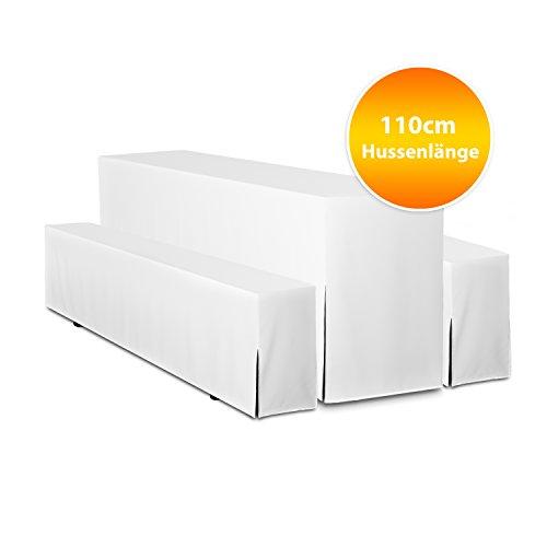 3-teiliges Set 110cm Hussen für Bierzeltgarnitur Premium, Biertisch und Banklänge: 110cm
