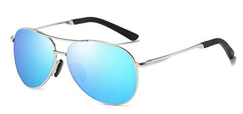 MEWENTY Aoron unisex polarisierte aluminium sonnenbrille vintage sonnenbrille für männer/frauen 100% uv 400 schutz (halbbild schwarz) (Silber/Ice Blau)