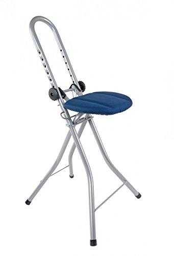 Buri Bügel-und Stehhilfe höhenverstellbar Bügelstuhl Bügelhilfe Standhilfe Stehsitz, Farbe:grau