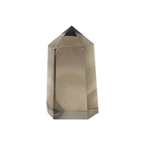 Ritapreaty-Anhänger-Halskette, natürliche Rohe Tee-Kristall-einseitige sechseckige Prismen-ursprüngliche Steinpolierverzierungen (Glas Anhänger Schatten Beleuchtung)