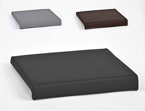 Klemmkissen für Sitzbank Sitz-Kissen 1 Leiste Kunstleder ca. B 40 cm x T 35 cm / 38 cm x H 6 cm in grau, schwarz oder braun, Farbe:schwarz