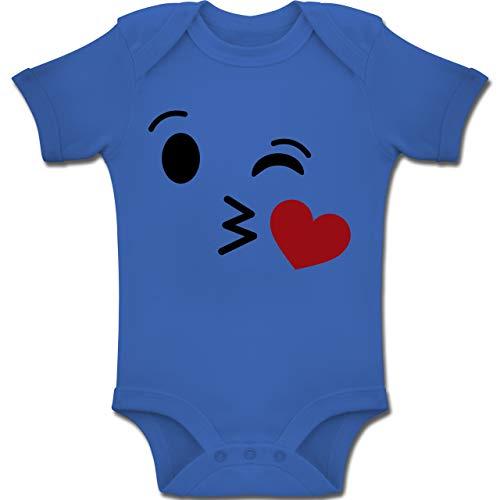 Shirtracer Karneval und Fasching Baby - Kuss Emoji Karneval - 3-6 Monate - Royalblau - BZ10 - Baby Body Kurzarm Jungen Mädchen