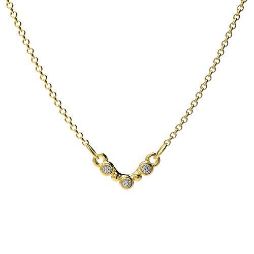 prettique Damen Halskette Stella mit drei gefassten Zirkonia Steinen (gold)