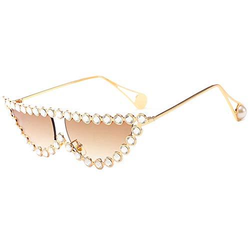 WAYAOZJ Katzenauge Metall Sonnenbrille, Strass Sonnenbrille Angeln Golf Baseball Brille Trendy Ocean Sonnenbrille,C2