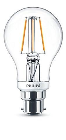 Philips LED Classic Dimmable B22 Bayonet Cap Clear Filament Light Bulb, 4.5 W (40 W) - Warm White