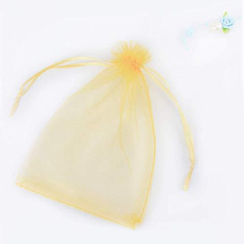 SXUUXB 100 Stück Organzabeutel 20x30cm(7.8x11.8 Zoll), Organza Geschenk Schmuck Beutel Wrap Drawstring Taschen für Hochzeits Bevorzugungs Geburtstagsfeier Festival Geschenk Dekoration (Gold)