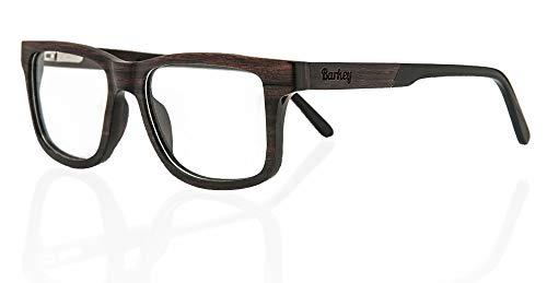 Barkey - Delhi Ebenholz Brille - Hochwertige Brillen in 100% Echtholz Handgefertigt und mit Demo Brillengläser ohne bestimmte Sehstärke mit Schrauböffnungssystem für ein einfaches Gläserwechsel