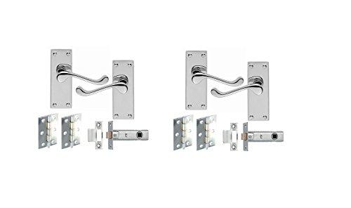 2Set di maniglia e serratura in stile vittoriano, in metallo cromato cerniere e ganci confezione Set - Cerniera Vittoriana
