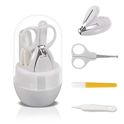 SONARIN Transparenter Deckel Baby Nagel Kit, 4-in-1 Baby Pflege set, mit Baby Nagelknipser,Schere,Nagelfeile und Pinzette, Baby Nagelpflege Set für Neugeborene oder Kleinkinder(Grau)