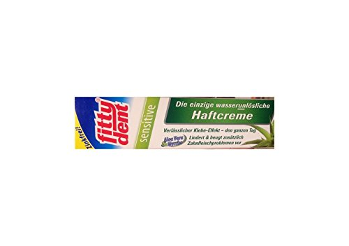 fittydent® sensitive Haftcreme 40g   Ober- und Unterkieferprothesen   Einmal pro Tag auftragen   Einzige wasserunlösliche Haftcreme   Für empfindliches Zahnfleisch mit Aloe Vera und Myrrhe