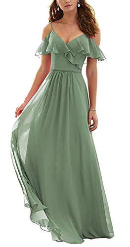 Dorliki A-Linie Gekräuselt Kalte Schulter Chiffon Lange Kleid der Brautjungfer Abendkleider Staubiger Salbei 40 - Kalte Schulter Kleid