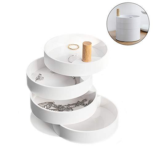 KOBWA Schmuck Box Veranstalter Geburtstag Mädchen Frauen Geschenk, 360-Grad-Drehung Reise Zubehör Lagerung für Ringe Ohrringe Halskette -4 Schichten, runde Form, Weiß (Box Schmuck)
