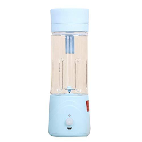 XVCHANGQING Exprimidor Viaje recargable Exprimidor de frutas eléctrico portátil 380ML Extractor de jugo Licuadora de vidrio Trituradora Licuadora, Azul