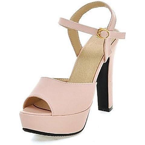CBIN&HUA Scarpe Donna-Sandali / Scarpe col tacco-Formale / Casual / Serata e festa-Tacchi / Spuntate / Plateau-Quadrato-PU (Poliuretano)-Rosa / , beige , us5 / eu35 / uk3 / cn34