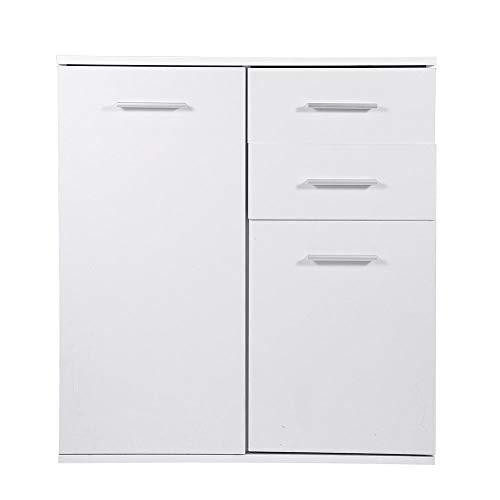 Zerone armadio con cassetto legno, mobile armadietto legno bianco 2 ante con 2 cassetti per ingresso ufficio bagno armadietto da terra legno interna 66 cm x 33 cm x 73,5 cm